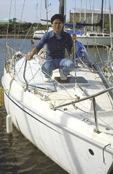 porta-bote dinghy on sailboat deck