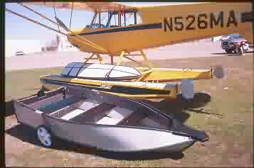 porta-bote dinghy on seaplane struts